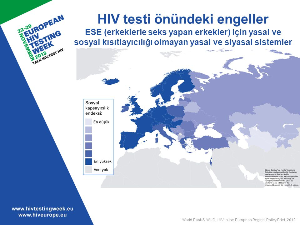 HIV testi önündeki engeller ESE (erkeklerle seks yapan erkekler) için yasal ve sosyal kısıtlayıcılığı olmayan yasal ve siyasal sistemler
