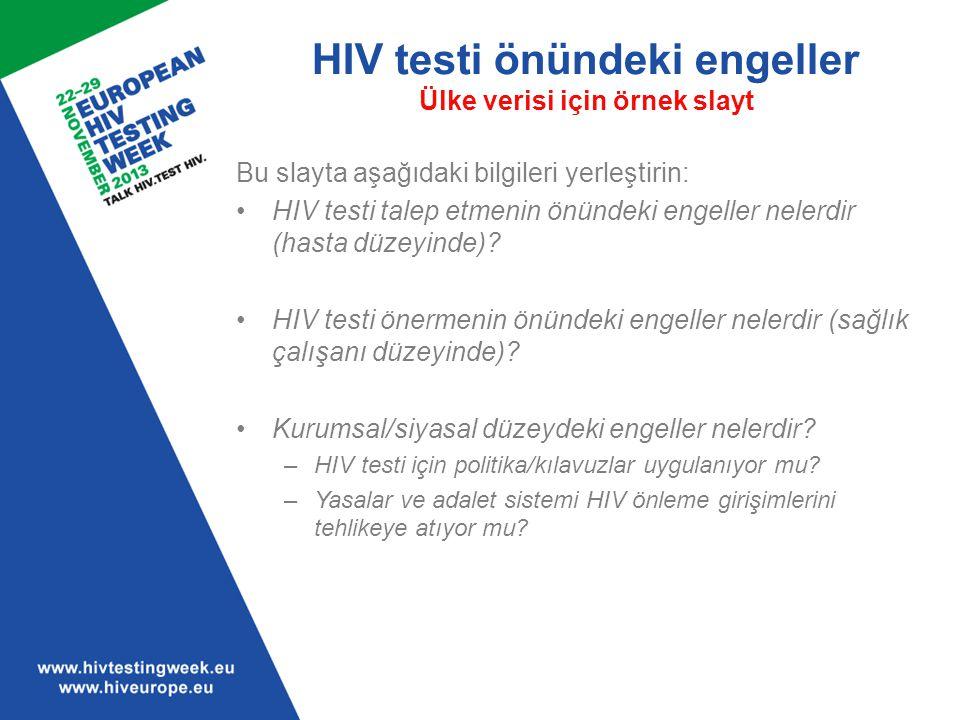 HIV testi önündeki engeller Ülke verisi için örnek slayt
