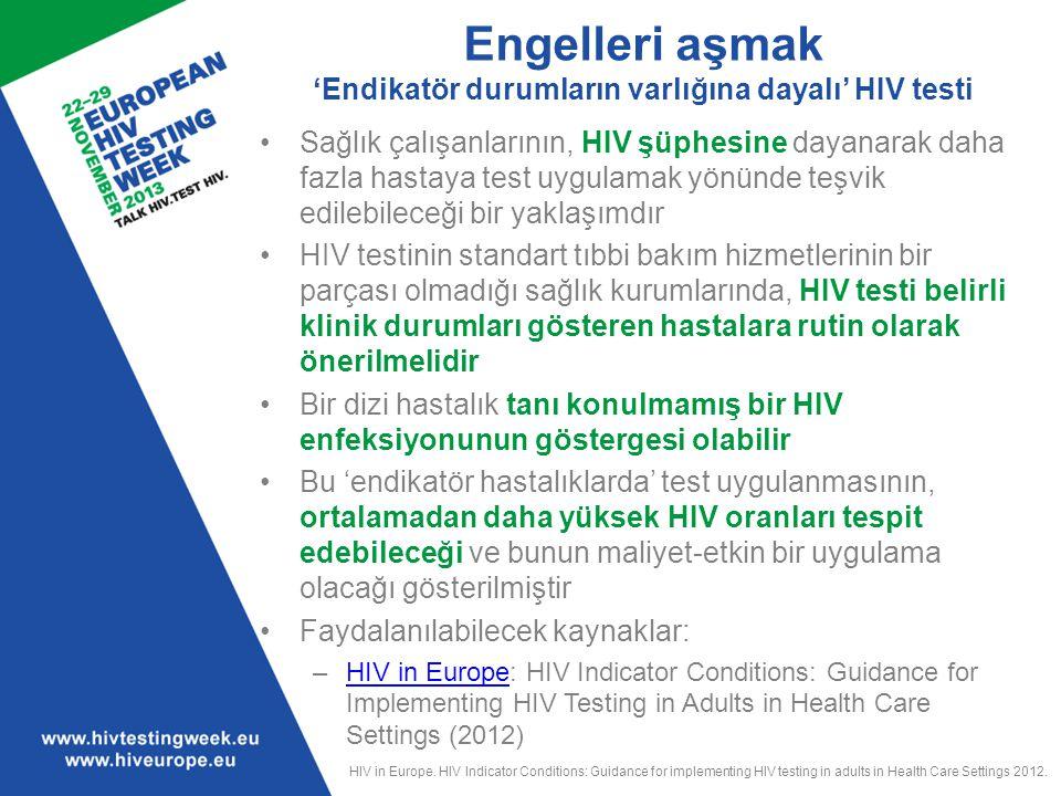 Engelleri aşmak 'Endikatör durumların varlığına dayalı' HIV testi