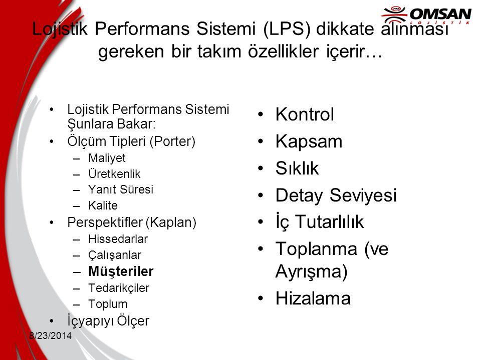 Lojistik Performans Sistemi (LPS) dikkate alınması gereken bir takım özellikler içerir…