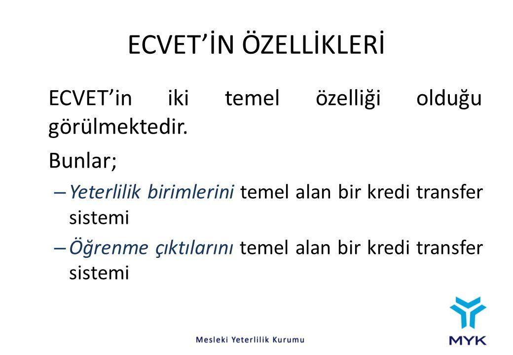 ECVET'İN ÖZELLİKLERİ ECVET'in iki temel özelliği olduğu görülmektedir.