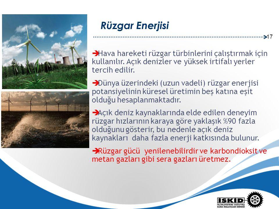 Rüzgar Enerjisi Hava hareketi rüzgar türbinlerini çalıştırmak için kullanılır. Açık denizler ve yüksek irtifalı yerler tercih edilir.