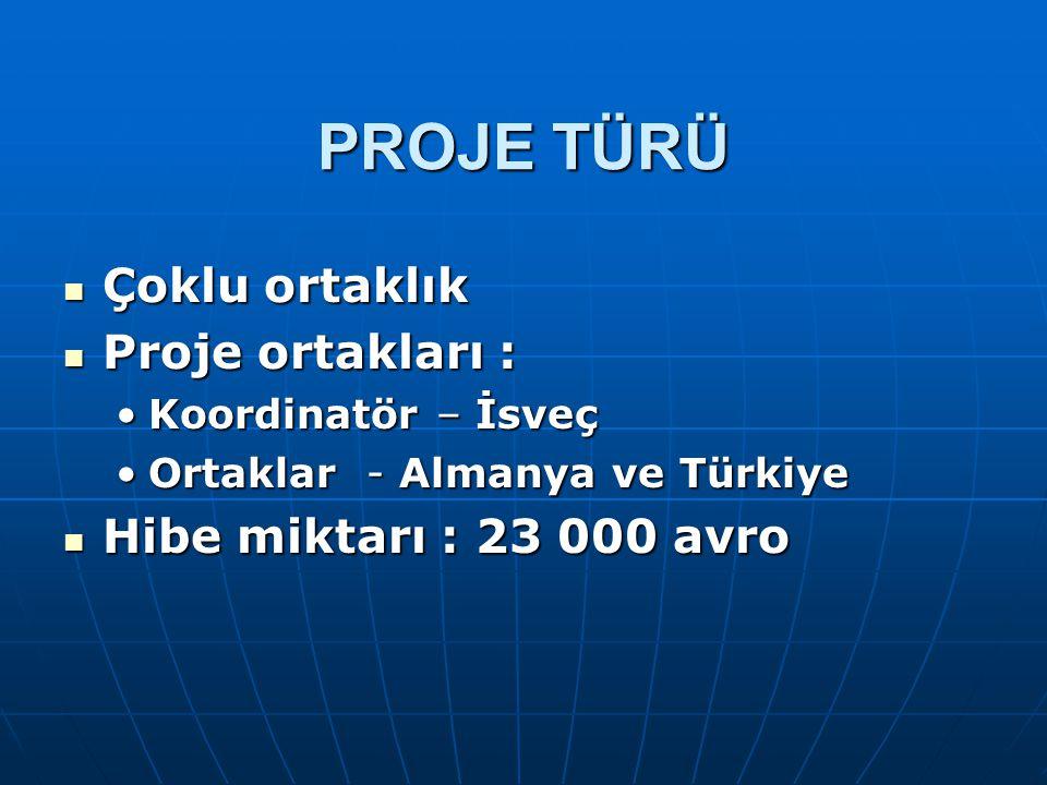 PROJE TÜRÜ Çoklu ortaklık Proje ortakları : Hibe miktarı : 23 000 avro