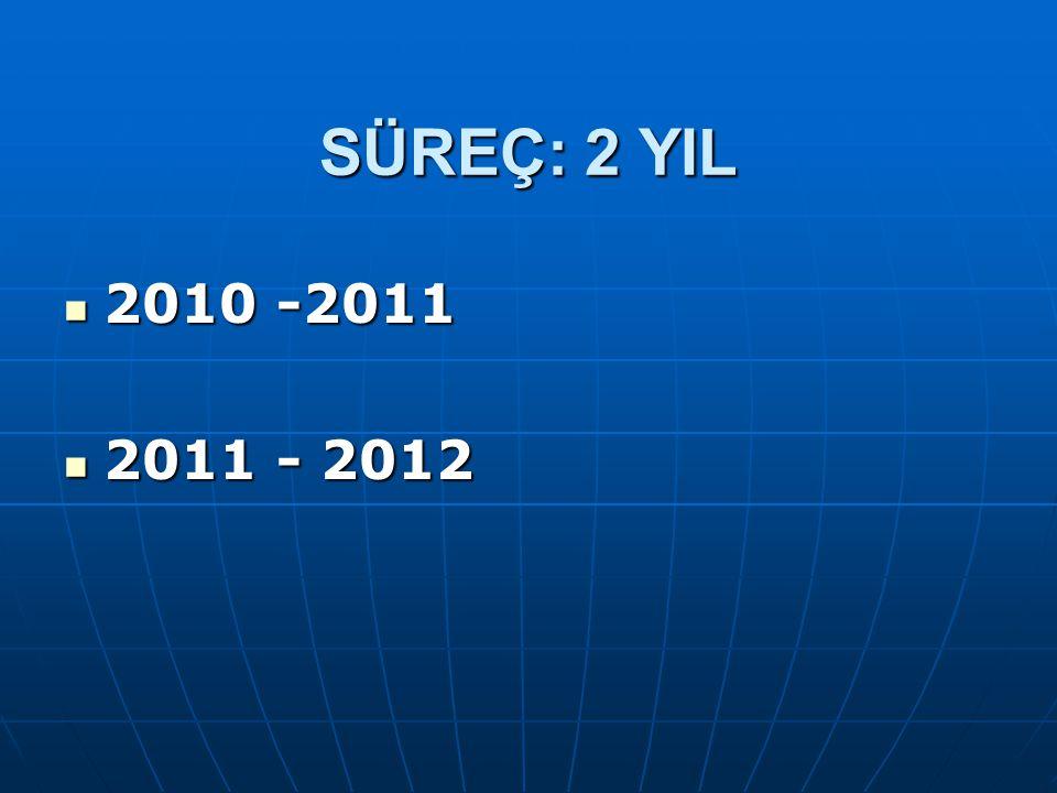 SÜREÇ: 2 YIL 2010 -2011 2011 - 2012