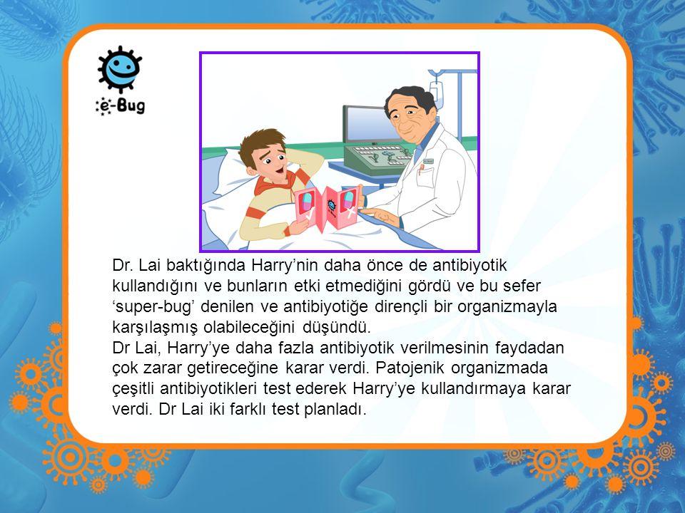 Dr. Lai baktığında Harry'nin daha önce de antibiyotik kullandığını ve bunların etki etmediğini gördü ve bu sefer 'super-bug' denilen ve antibiyotiğe dirençli bir organizmayla karşılaşmış olabileceğini düşündü.