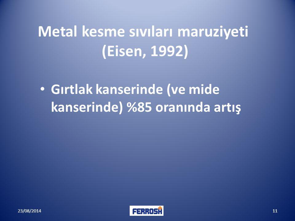 Metal kesme sıvıları maruziyeti (Eisen, 1992)