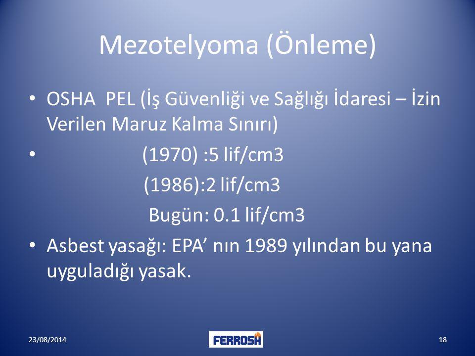 Mezotelyoma (Önleme) OSHA PEL (İş Güvenliği ve Sağlığı İdaresi – İzin Verilen Maruz Kalma Sınırı) (1970) :5 lif/cm3.
