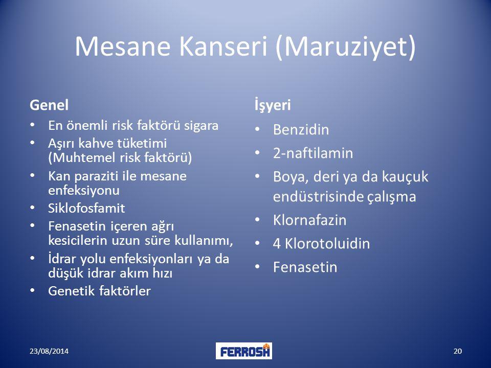 Mesane Kanseri (Maruziyet)