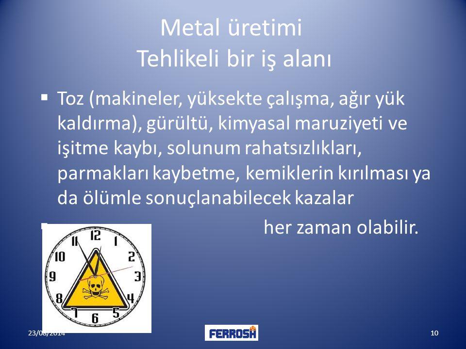 Metal üretimi Tehlikeli bir iş alanı