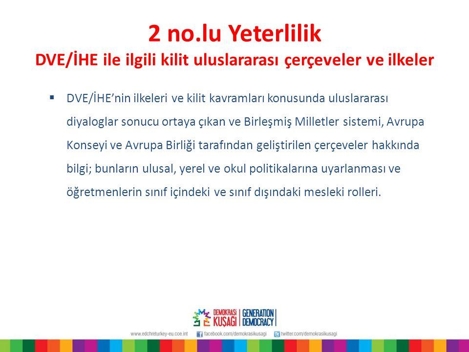 2 no.lu Yeterlilik DVE/İHE ile ilgili kilit uluslararası çerçeveler ve ilkeler