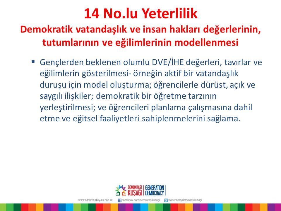 14 No.lu Yeterlilik Demokratik vatandaşlık ve insan hakları değerlerinin, tutumlarının ve eğilimlerinin modellenmesi