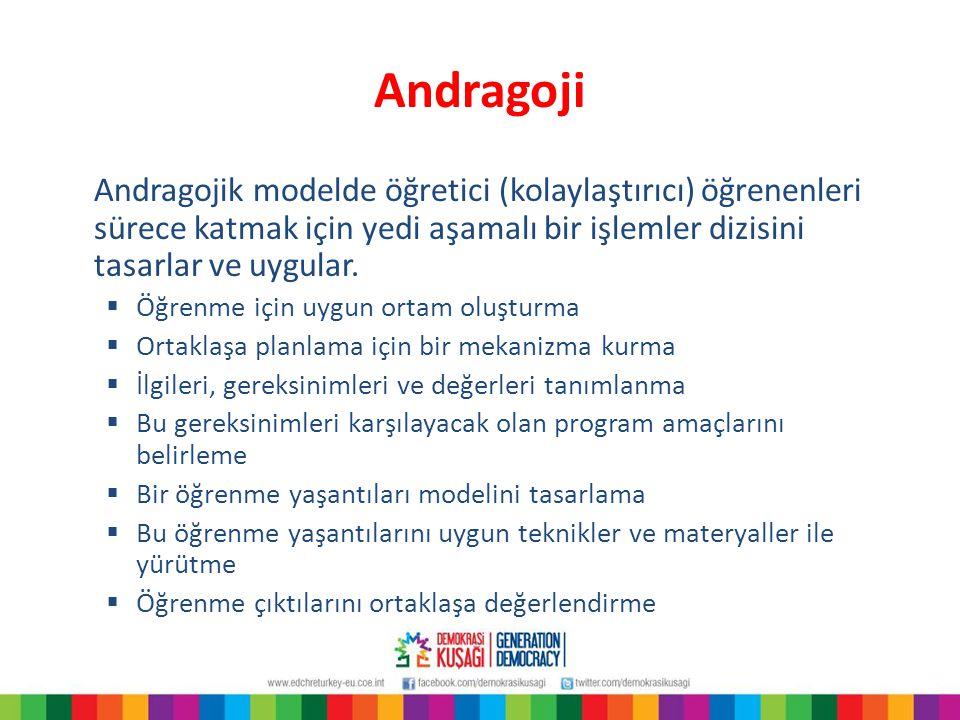 Andragoji Andragojik modelde öğretici (kolaylaştırıcı) öğrenenleri sürece katmak için yedi aşamalı bir işlemler dizisini tasarlar ve uygular.