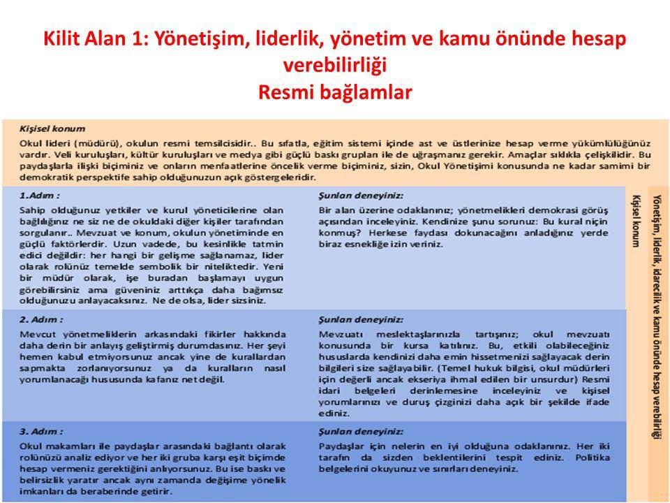 Kilit Alan 1: Yönetişim, liderlik, yönetim ve kamu önünde hesap verebilirliği Resmi bağlamlar