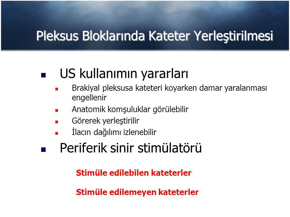 Pleksus Bloklarında Kateter Yerleştirilmesi