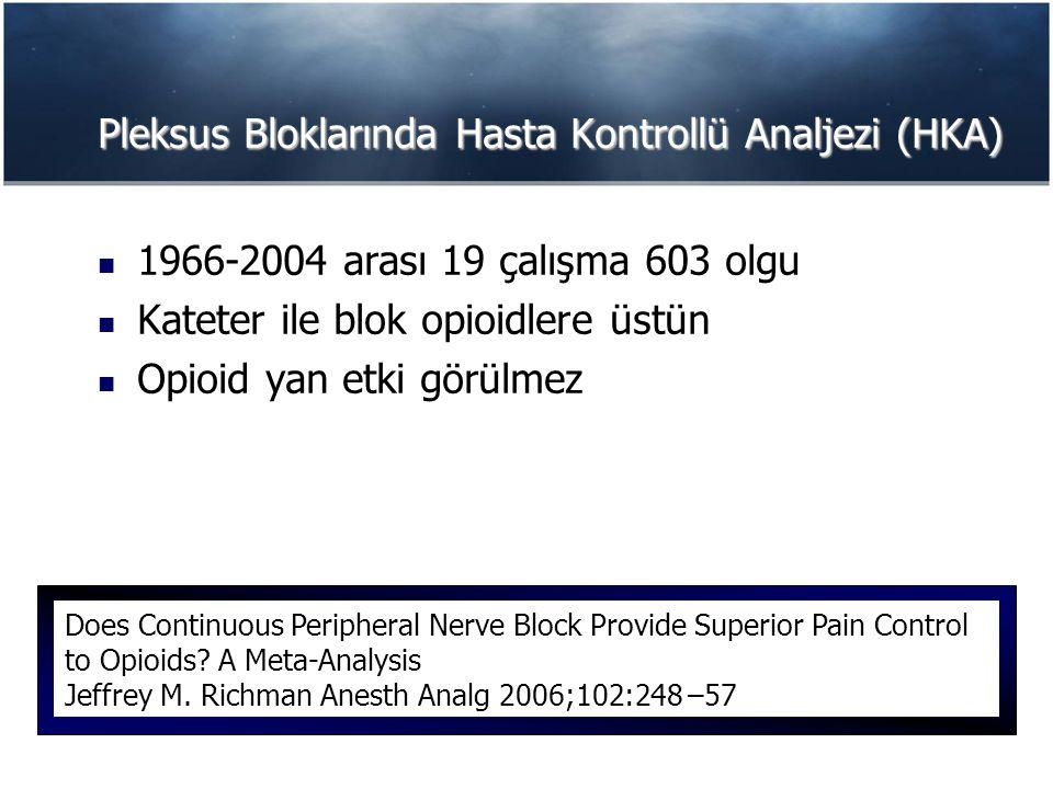 Pleksus Bloklarında Hasta Kontrollü Analjezi (HKA)