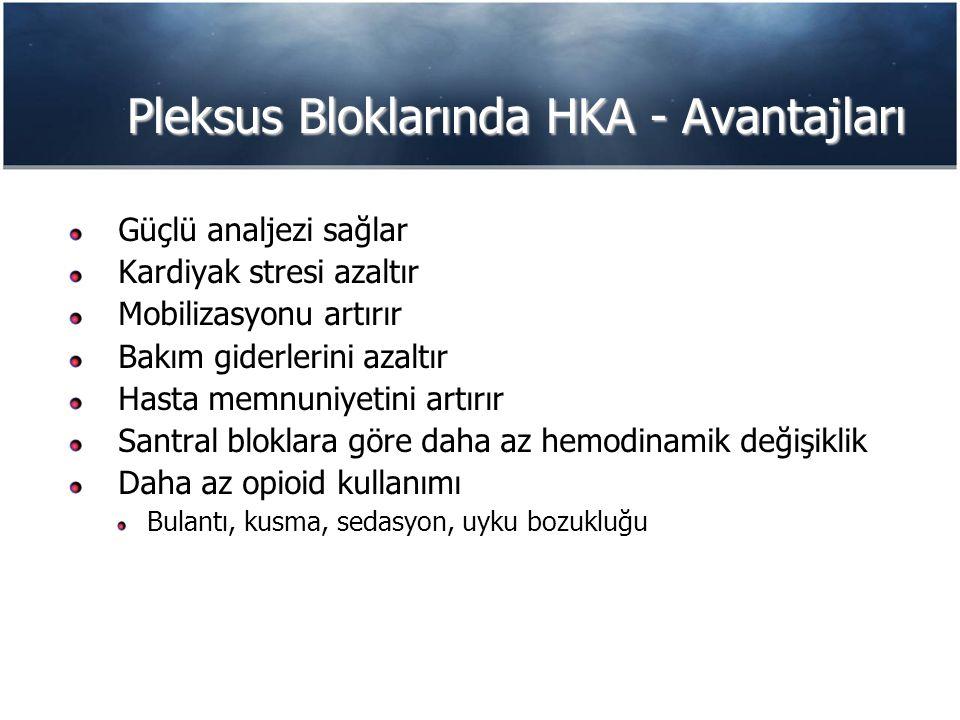 Pleksus Bloklarında HKA - Avantajları