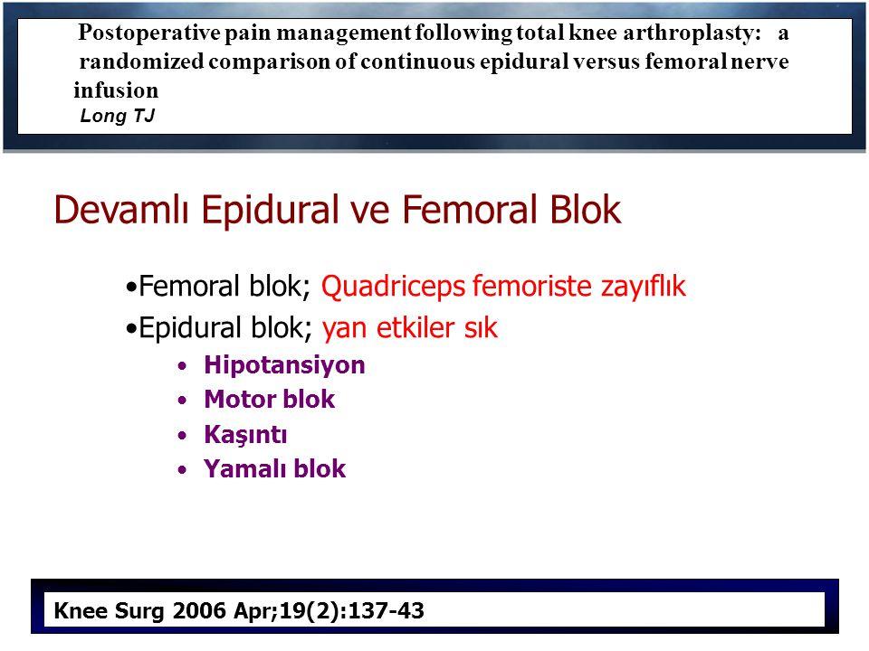 Devamlı Epidural ve Femoral Blok