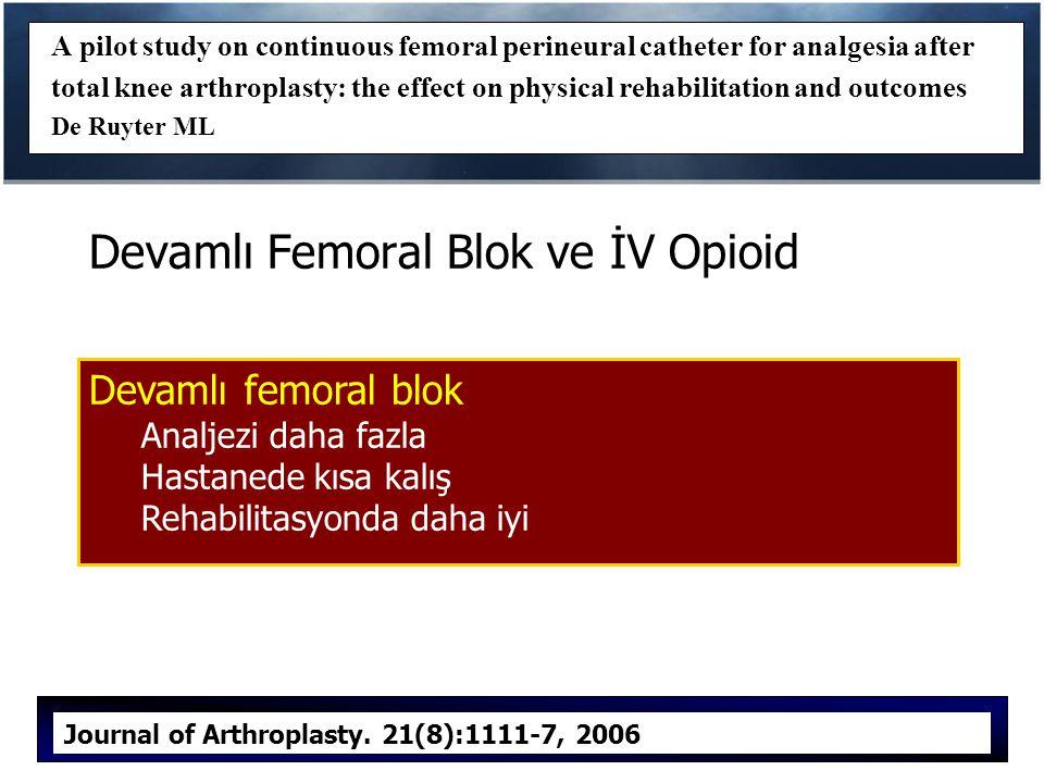 Devamlı Femoral Blok ve İV Opioid
