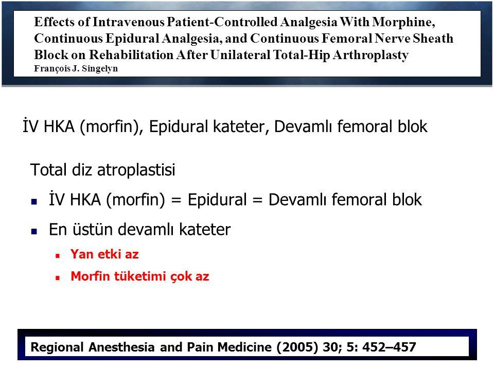 İV HKA (morfin), Epidural kateter, Devamlı femoral blok