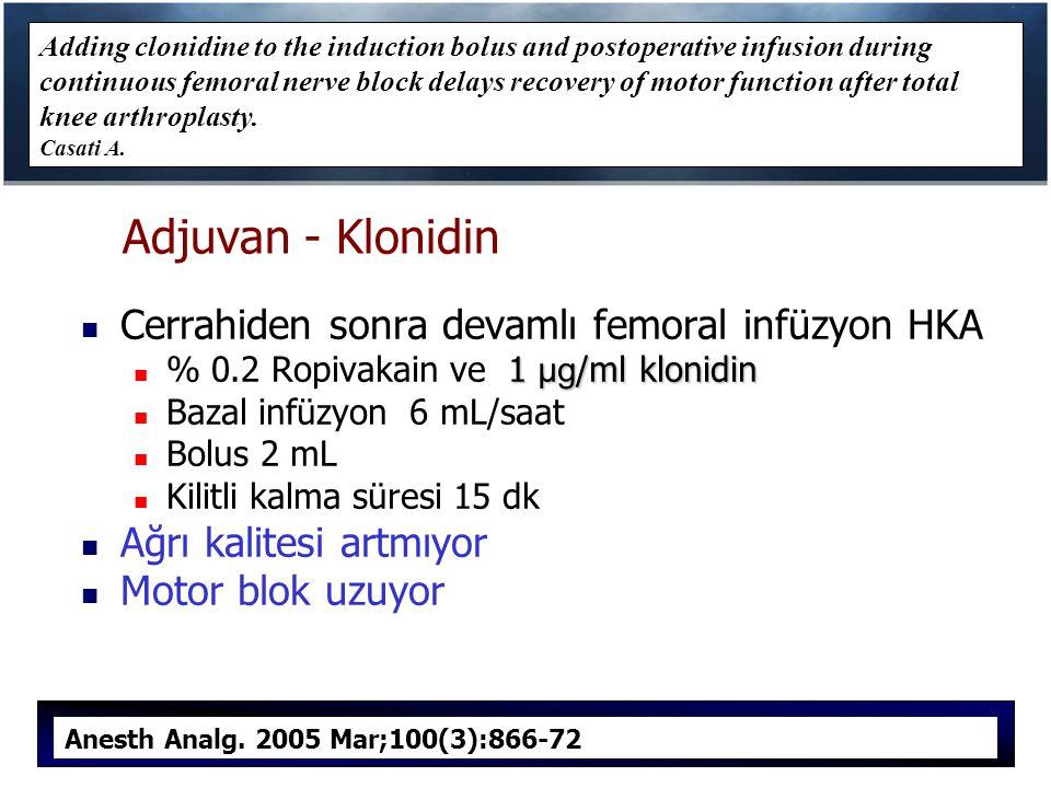 Adjuvan - Klonidin Cerrahiden sonra devamlı femoral infüzyon HKA