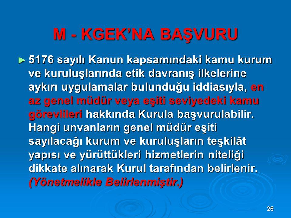 M - KGEK'NA BAŞVURU