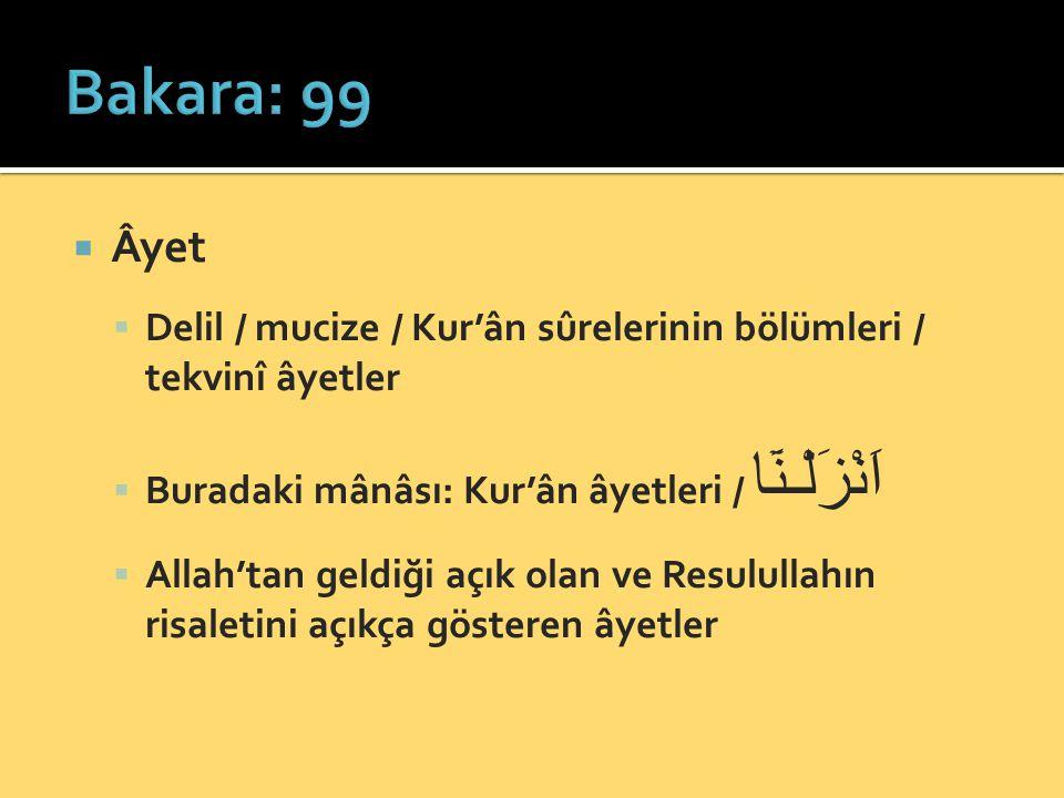 Bakara: 99 Âyet. Delil / mucize / Kur'ân sûrelerinin bölümleri / tekvinî âyetler. Buradaki mânâsı: Kur'ân âyetleri / اَنْزَلْـنَٓا.