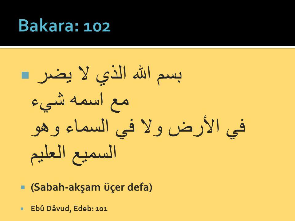 Bakara: 102 بسم الله الذي لا يضر مع اسمه شيء في الأرض ولا في السماء وهو السميع العليم. (Sabah-akşam üçer defa)