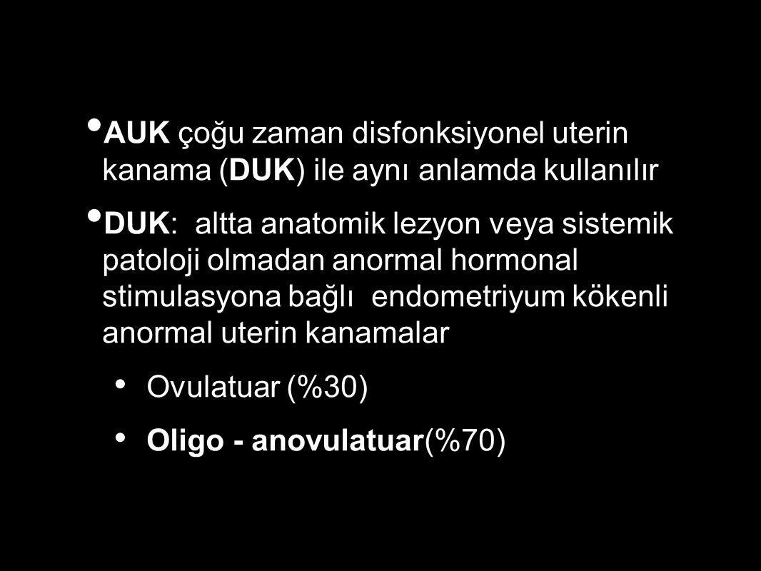 AUK çoğu zaman disfonksiyonel uterin kanama (DUK) ile aynı anlamda kullanılır