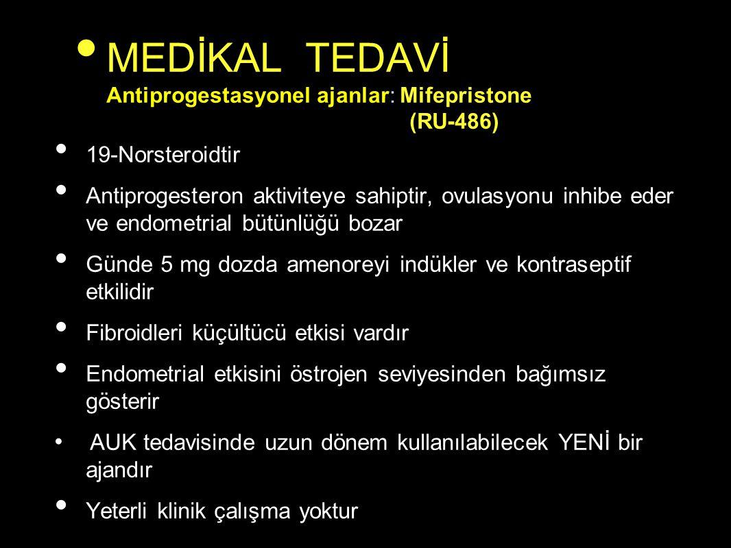 MEDİKAL TEDAVİ Antiprogestasyonel ajanlar: Mifepristone (RU-486)