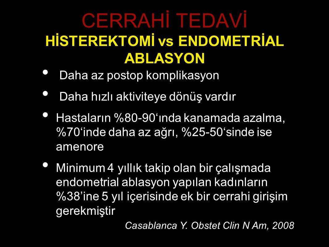 CERRAHİ TEDAVİ HİSTEREKTOMİ vs ENDOMETRİAL ABLASYON