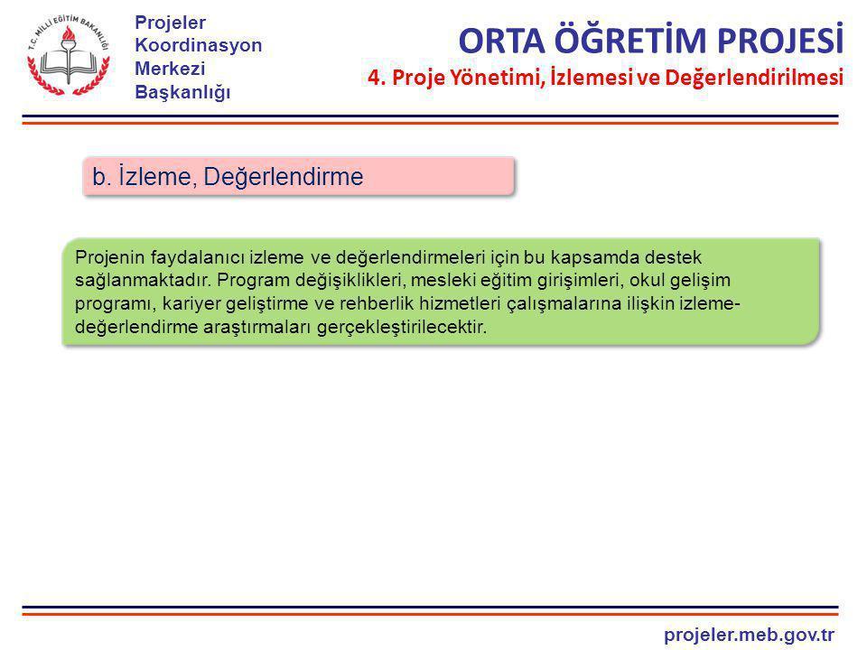 ORTA ÖĞRETİM PROJESİ 4. Proje Yönetimi, İzlemesi ve Değerlendirilmesi