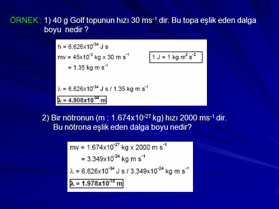 ÖRNEK : 1) 40 g Golf topunun hızı 30 ms-1 dir. Bu topa eşlik eden dalga