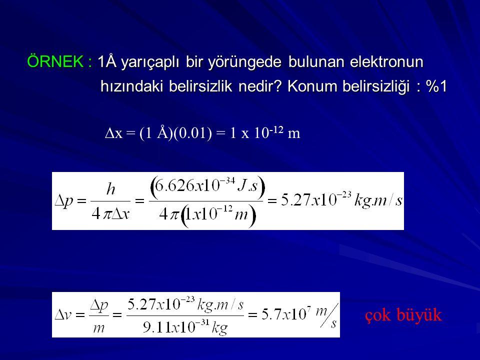 ÖRNEK : 1Å yarıçaplı bir yörüngede bulunan elektronun