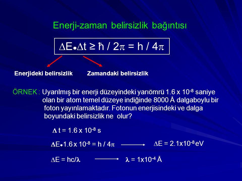 E●t ≥ ћ / 2 = h / 4 Enerji-zaman belirsizlik bağıntısı