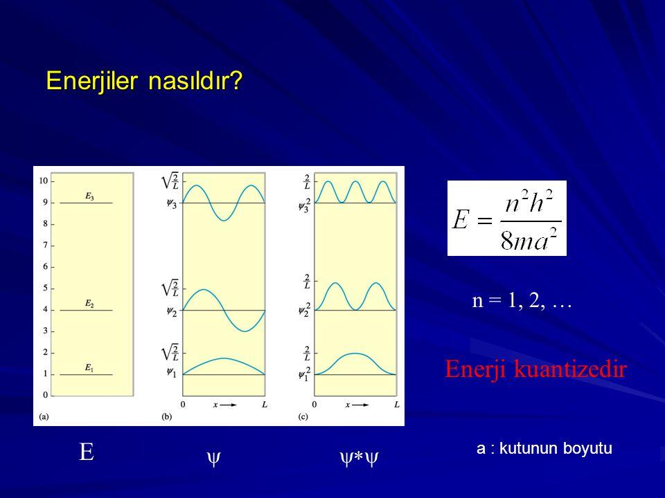 Enerjiler nasıldır Enerji kuantizedir E n = 1, 2, … y y*y