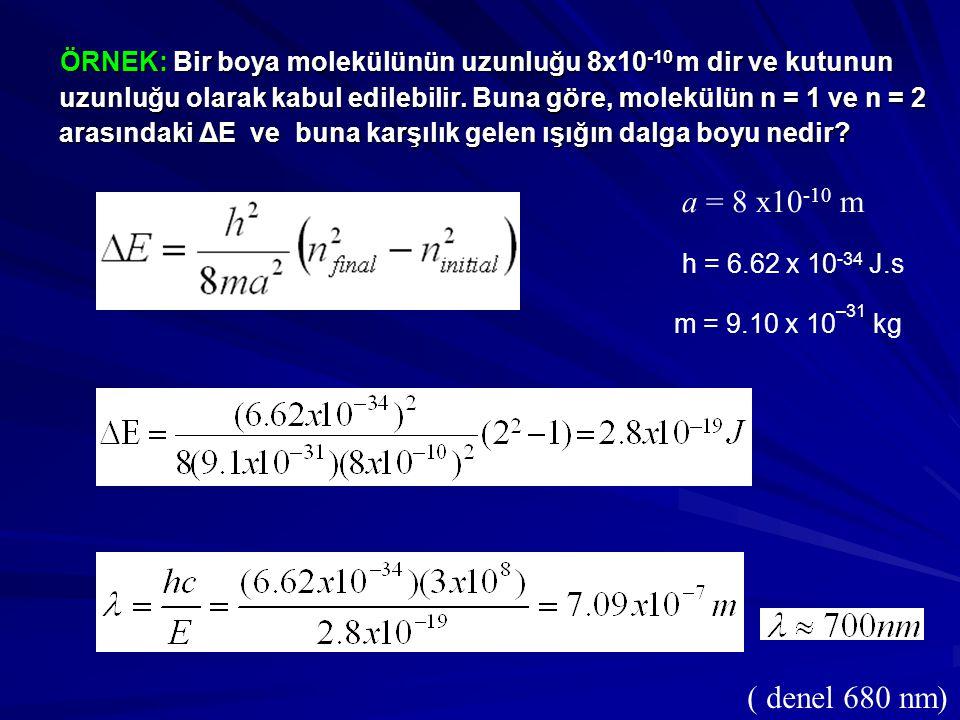 ÖRNEK: Bir boya molekülünün uzunluğu 8x10-10 m dir ve kutunun uzunluğu olarak kabul edilebilir. Buna göre, molekülün n = 1 ve n = 2 arasındaki ΔE ve buna karşılık gelen ışığın dalga boyu nedir