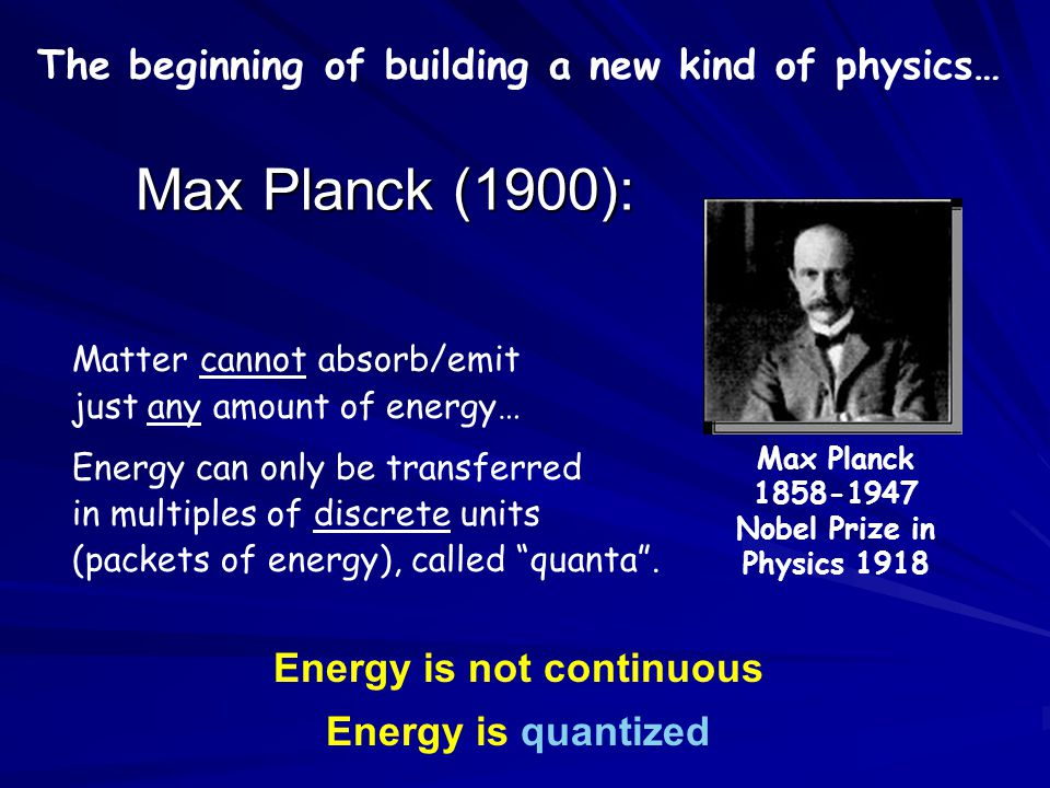 Max Planck (1900): The beginning of building a new kind of physics…