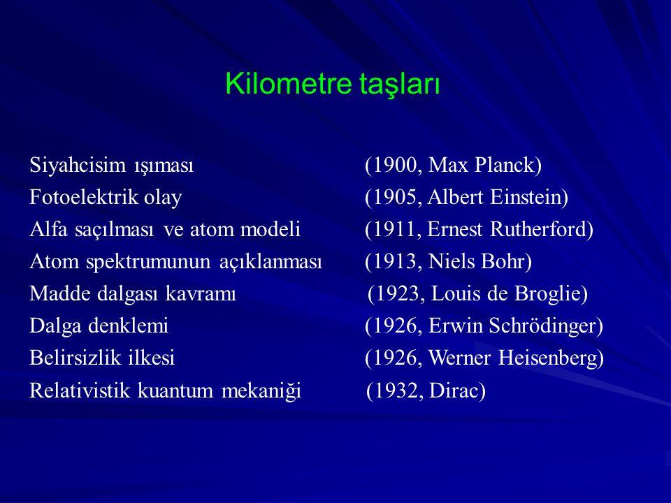 Kilometre taşları Siyahcisim ışıması (1900, Max Planck)