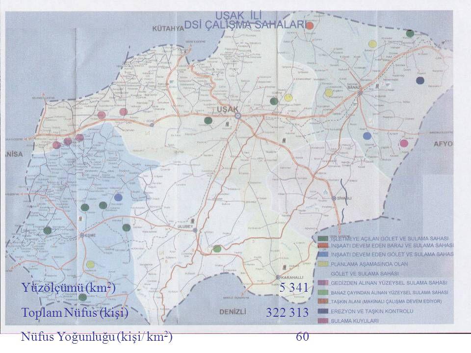 Yüzölçümü (km2) 5 341 Toplam Nüfus (kişi) 322 313 Nüfus Yoğunluğu (kişi/ km2) 60
