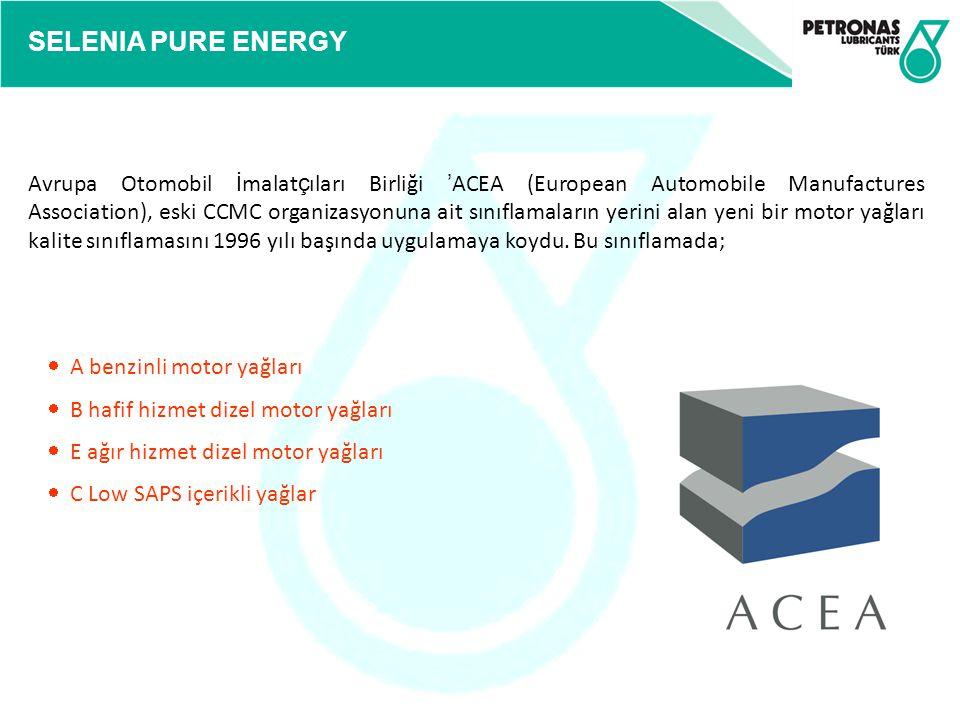 Avrupa Otomobil İmalatçıları Birliği 'ACEA (European Automobile Manufactures Association), eski CCMC organizasyonuna ait sınıflamaların yerini alan yeni bir motor yağları kalite sınıflamasını 1996 yılı başında uygulamaya koydu. Bu sınıflamada;