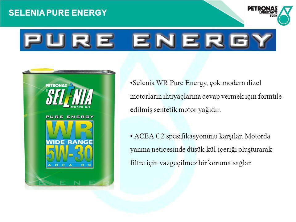 Selenia WR Pure Energy, çok modern dizel motorların ihtiyaçlarına cevap vermek için formüle edilmiş sentetik motor yağıdır.