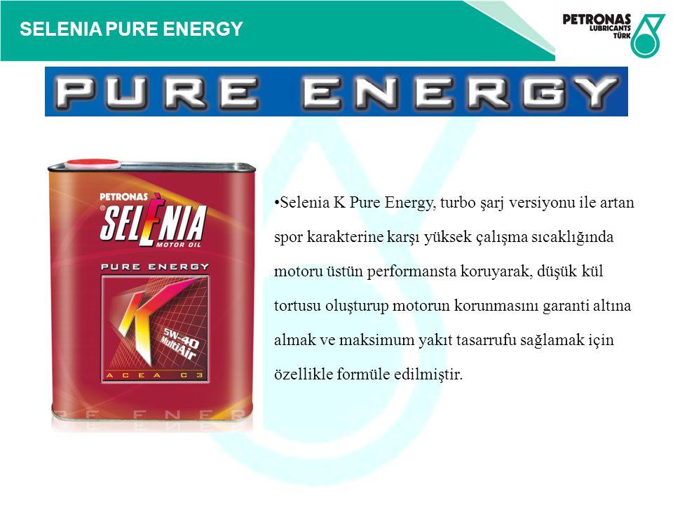 Selenia K Pure Energy, turbo şarj versiyonu ile artan spor karakterine karşı yüksek çalışma sıcaklığında motoru üstün performansta koruyarak, düşük kül tortusu oluşturup motorun korunmasını garanti altına almak ve maksimum yakıt tasarrufu sağlamak için özellikle formüle edilmiştir.