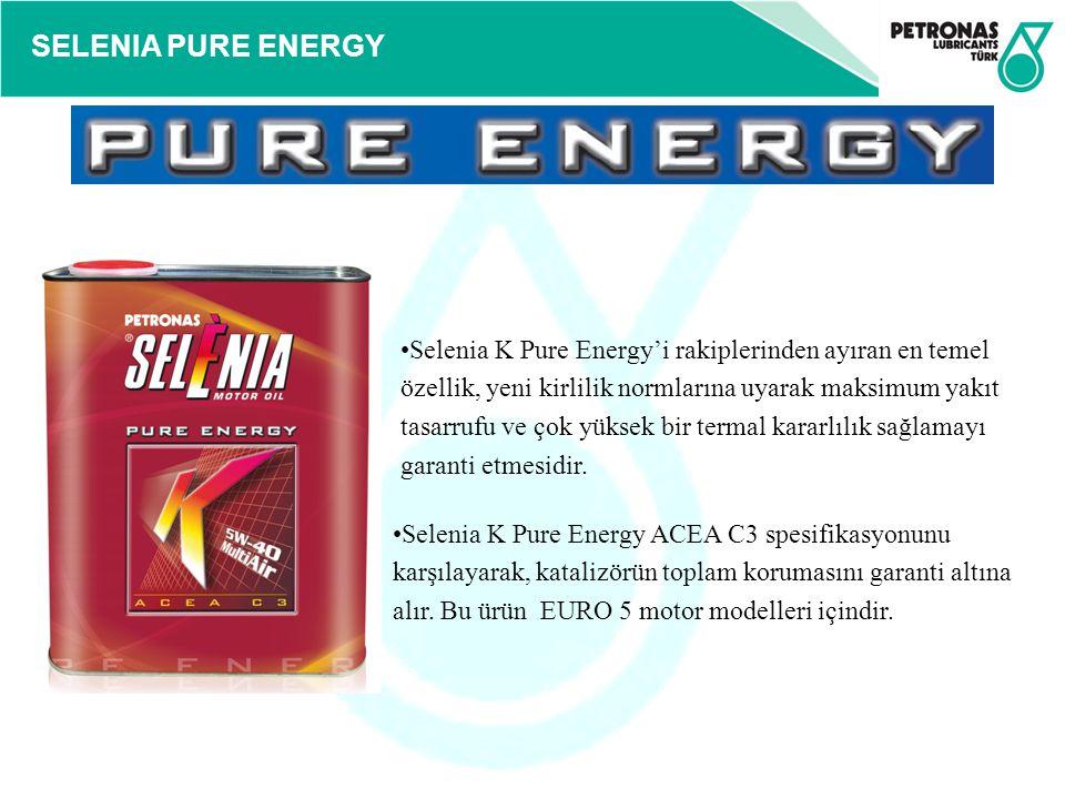 Selenia K Pure Energy'i rakiplerinden ayıran en temel özellik, yeni kirlilik normlarına uyarak maksimum yakıt tasarrufu ve çok yüksek bir termal kararlılık sağlamayı garanti etmesidir.