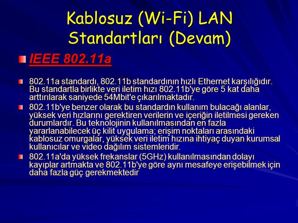 Kablosuz (Wi-Fi) LAN Standartları (Devam)