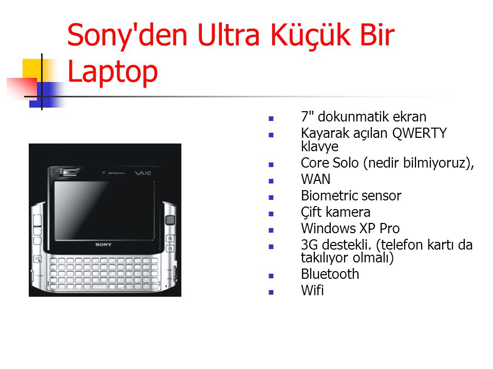 Sony den Ultra Küçük Bir Laptop