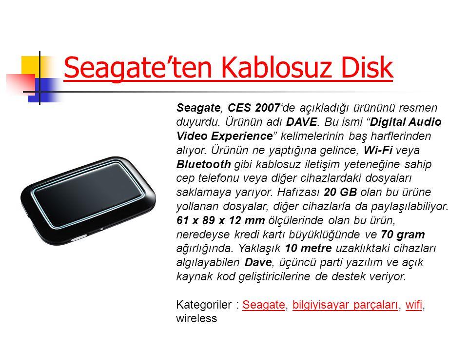 Seagate'ten Kablosuz Disk