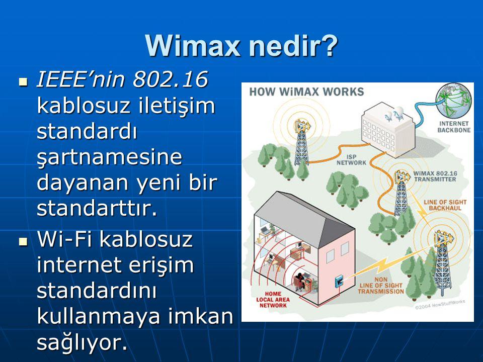 Wimax nedir IEEE'nin 802.16 kablosuz iletişim standardı şartnamesine dayanan yeni bir standarttır.