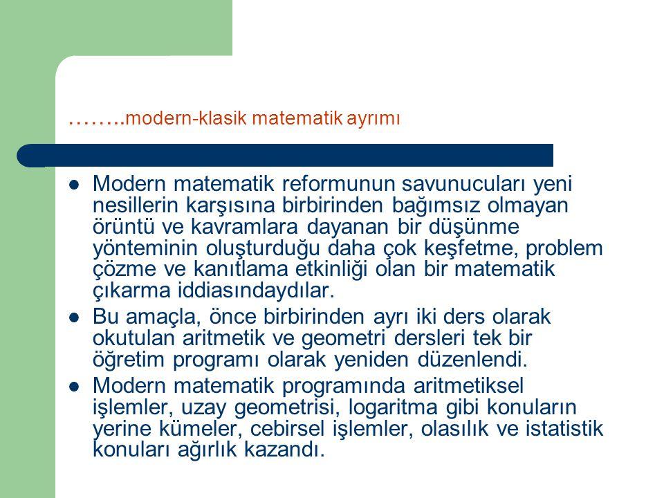 ……..modern-klasik matematik ayrımı