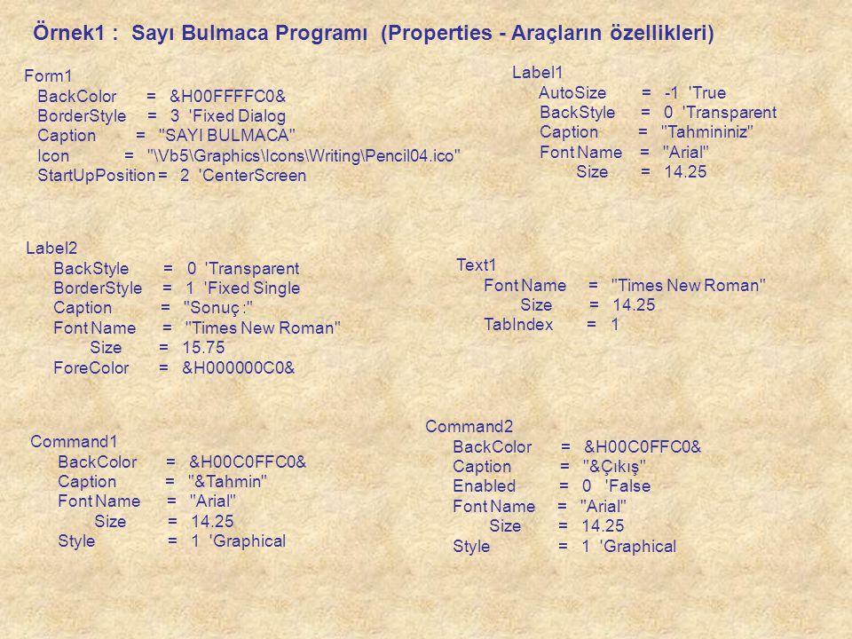Örnek1 : Sayı Bulmaca Programı (Properties - Araçların özellikleri)