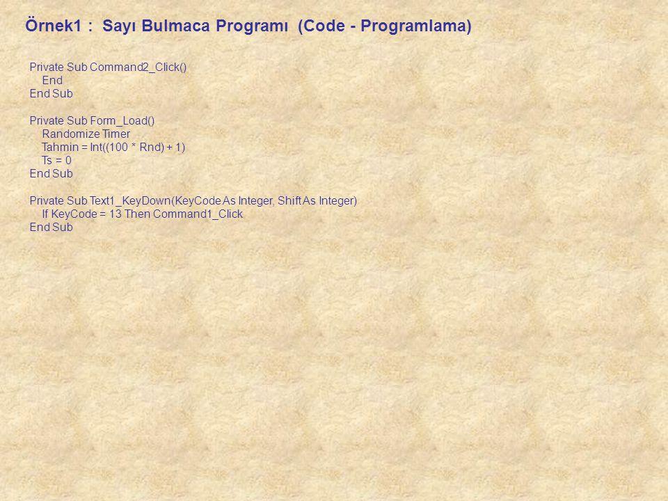 Örnek1 : Sayı Bulmaca Programı (Code - Programlama)